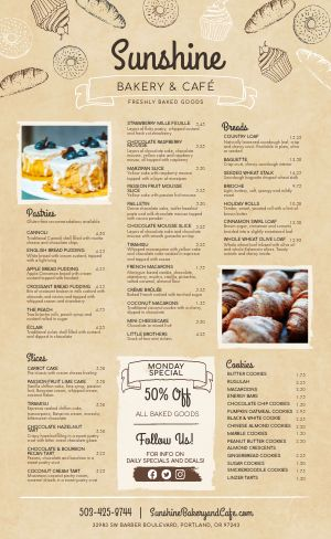 Bakery Pastry Menu