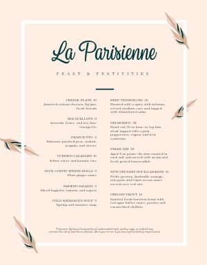 Stark French Menu