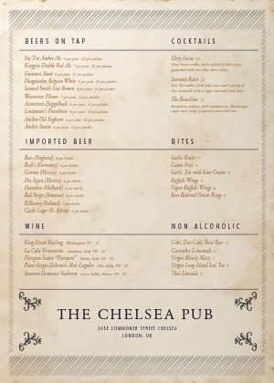 London Pub A4 Menu