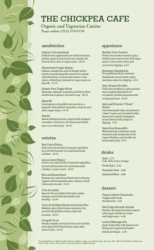 Vegan Cafe Menu