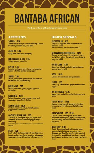 Sample African Cuisine Menu