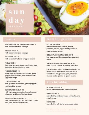 Sunday Breakfast Menu