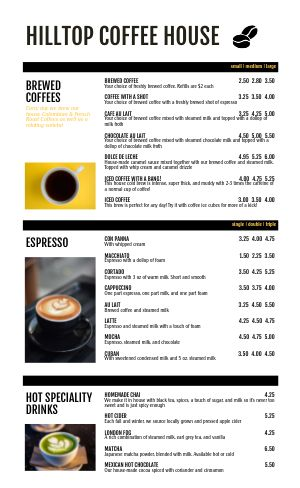 Contemporary Coffee Menu