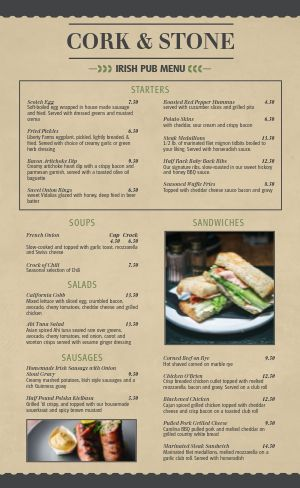 Sample Irish Menu