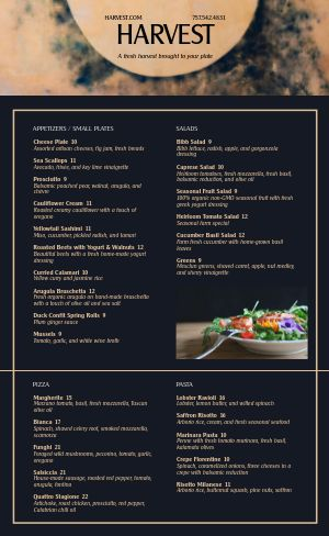 Sample Fine Dining Menu