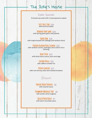 Wooden Easter Menu