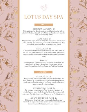 Blooming Spa Menu