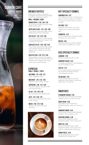 Example Coffeehouse Menu