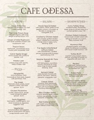 Olive Branch Cafe Menu