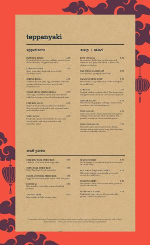 Cork Thai Menu