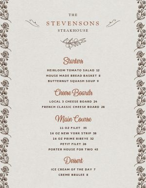 Steakhouse Fine Dining Menu