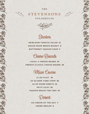 Steakhouse Fine Dining Menu