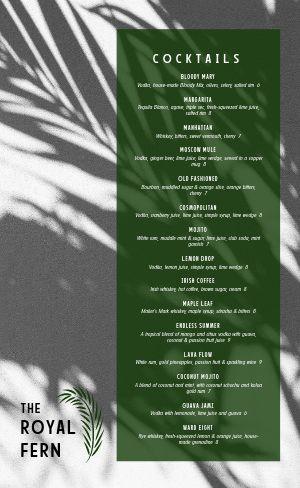 Tropical Night Club Menu
