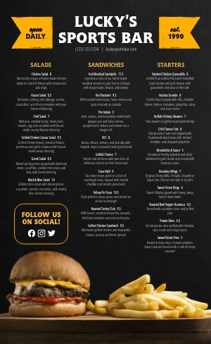 Burger Sports Bar Menu