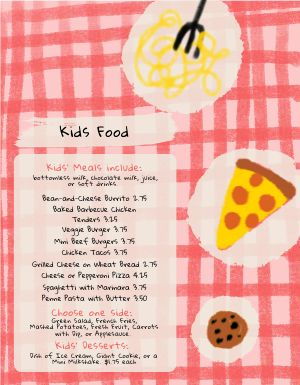Colorful Pizza Kids Menu