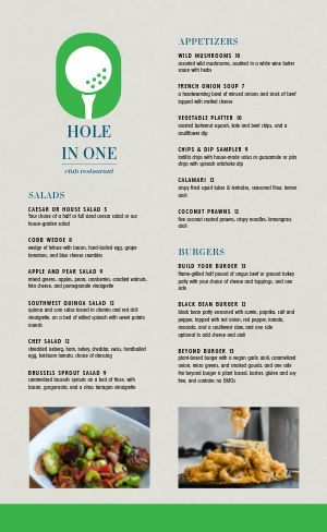 Golf Country Club Menu