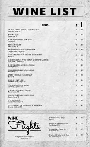 Wine Flight Menu