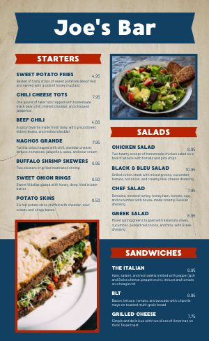 Dine In Sports Bar Menu