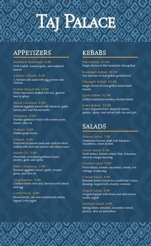 Middle Eastern Dinner Menu
