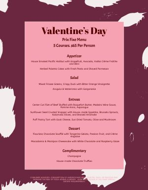 Valentines Day Courses Menu