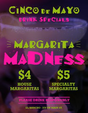 Cinco De Mayo Margaritas Specials Flyers