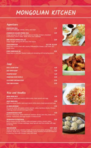 Mongolian Chinese Menu