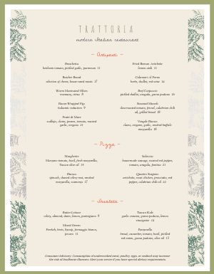 Contemporary Italian Menu