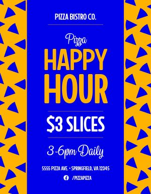 Happy Hour Pizza Specials Flyer