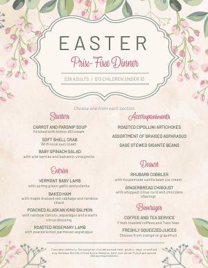 Elegant Easter Menu