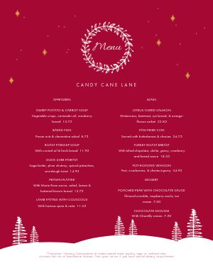Abstract Christmas Menu