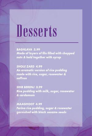 Purple Desserts Table Tent