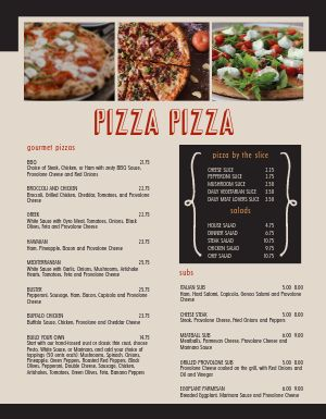 Craftsman Pizza Menu