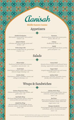 Middle Eastern Eatery Menu