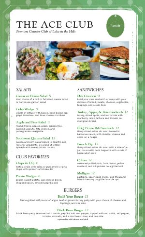 Golf Tee Country Club Menu