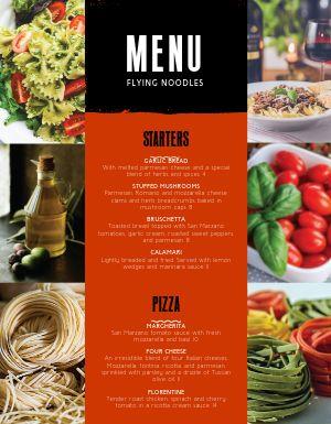 Italian Noodle Menu