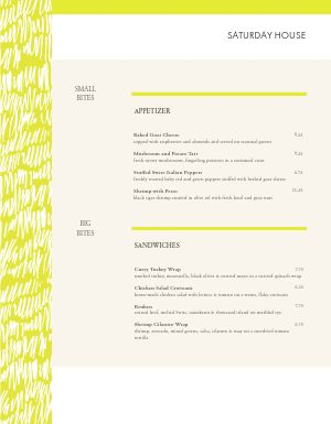 Electric Cafe Menu