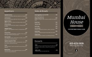 Contemporary Indian Takeout Menu
