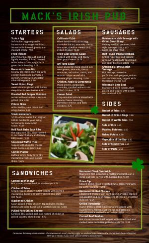 Wood Irish Menu