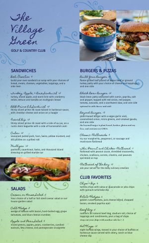 Colorful Country Club Menu