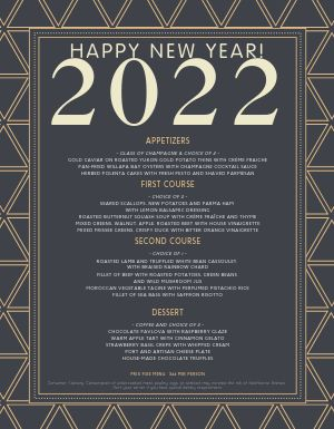 New Years Celebration Menu