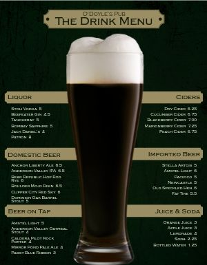 Irish Beer Bar Menu