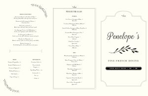 French Entrees Folded Menu
