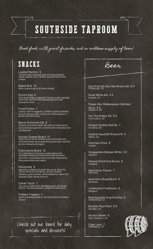 Taproom Bar Menu