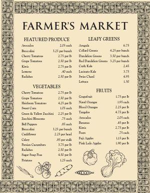 Farmers Market Vegetable Menu