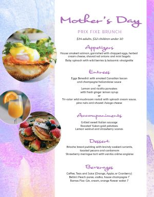 Mothers Day Sunday Brunch Specials Menu