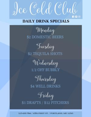 Daily Drink Specials Flyer