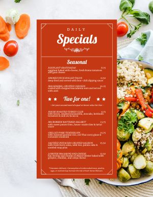 Fresh Daily Specials Menu