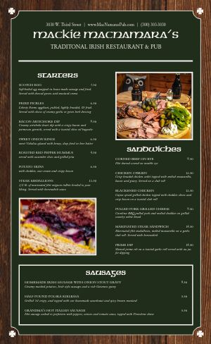 Irish Eatery Menu