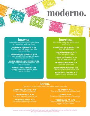 Modern Mexican Menu