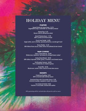 Cafe Holiday Menu
